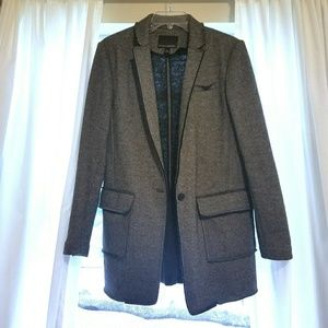 Banana Republic Gray Deconstructed Long Blazer